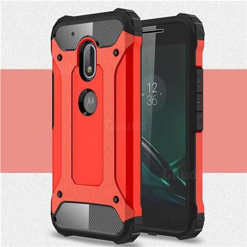 King Kong Armor Premium Shockproof Dual Layer Rugged Hard Cover for Motorola Moto G4 Play - Big Red