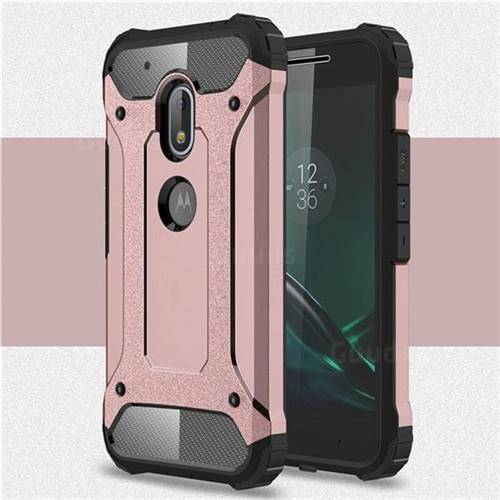 King Kong Armor Premium Shockproof Dual Layer Rugged Hard Cover for Motorola Moto G4 Play - Rose Gold