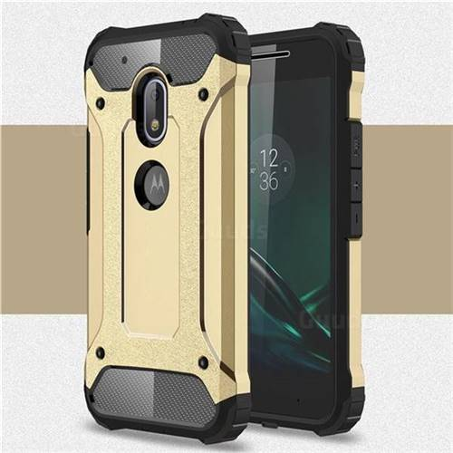King Kong Armor Premium Shockproof Dual Layer Rugged Hard Cover for Motorola Moto G4 Play - Champagne Gold