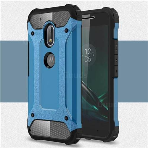 King Kong Armor Premium Shockproof Dual Layer Rugged Hard Cover for Motorola Moto G4 Play - Sky Blue