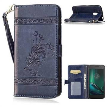 meet 76df8 aa458 Luxury Retro Oil Wax Embossed PU Leather Wallet Case for Motorola Moto G4  Play - Navy Blue - Leather Case - Guuds