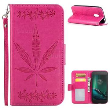 Intricate Embossing Maple Leather Wallet Case for Motorola Moto G4 Play - Rose