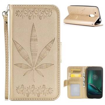 Intricate Embossing Maple Leather Wallet Case for Motorola Moto G4 Play - Champagne