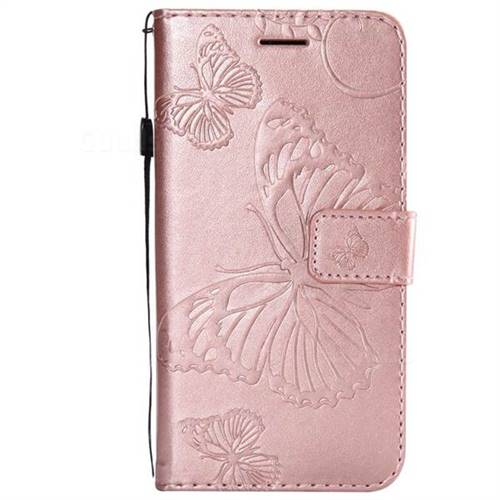 size 40 bd7e3 478ca Embossing 3D Butterfly Leather Wallet Case for Motorola Moto G4 Play - Rose  Gold