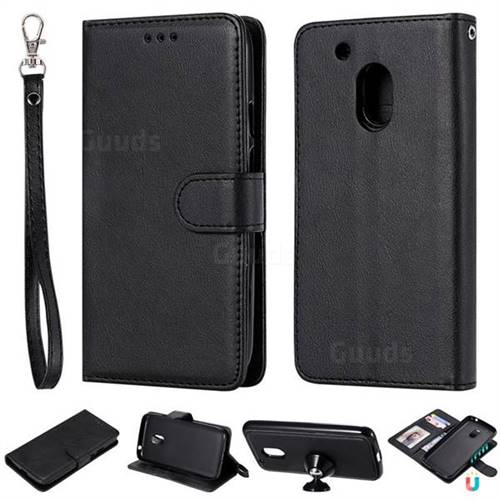 Retro Greek Detachable Magnetic PU Leather Wallet Phone Case for Motorola Moto G4 Play - Black