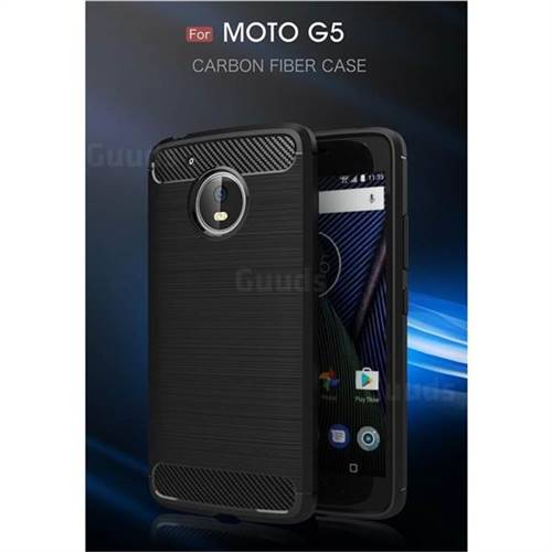 Luxury Carbon Fiber Brushed Wire Drawing Silicone TPU Back Cover for Motorola Moto G5 (Black)