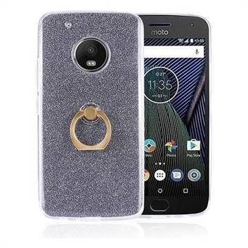 Luxury Soft TPU Glitter Back Ring Cover with 360 Rotate Finger Holder Buckle for Motorola Moto G5 - Black