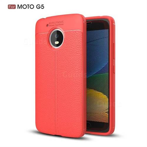 Luxury Auto Focus Litchi Texture Silicone TPU Back Cover for Motorola Moto G5 - Red
