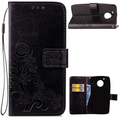 Embossing Imprint Four-Leaf Clover Leather Wallet Case for Motorola Moto G5 - Black