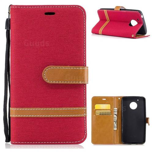 Jeans Cowboy Denim Leather Wallet Case for Motorola Moto G5 - Red