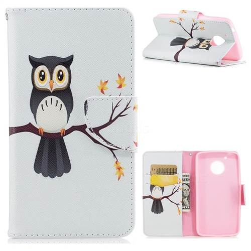 Owl on Tree Leather Wallet Case for Motorola Moto G5