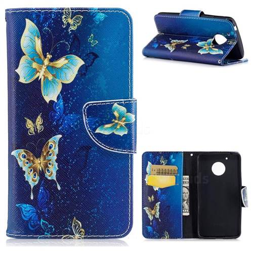Golden Butterflies Leather Wallet Case for Motorola Moto G5