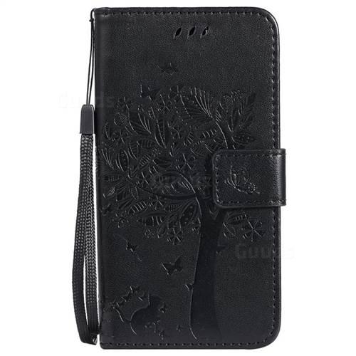 Embossing Butterfly Tree Leather Wallet Case for Motorola Moto G5 - Black