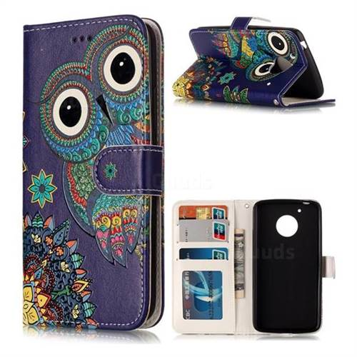 Folk Owl 3D Relief Oil PU Leather Wallet Case for Motorola Moto G5