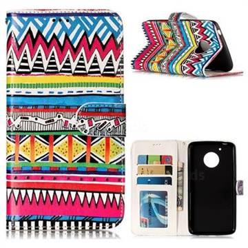 Tribal Pattern 3D Relief Oil PU Leather Wallet Case for Motorola Moto G5