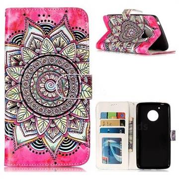 Rose Mandala 3D Relief Oil PU Leather Wallet Case for Motorola Moto G5