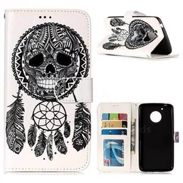 Wind Chimes Skull 3D Relief Oil PU Leather Wallet Case for Motorola Moto G5
