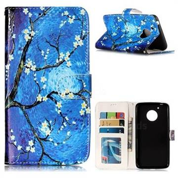 Plum Blossom 3D Relief Oil PU Leather Wallet Case for Motorola Moto G5