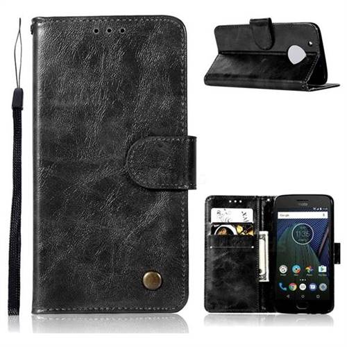 Luxury Retro Leather Wallet Case for Motorola Moto G5 - Black
