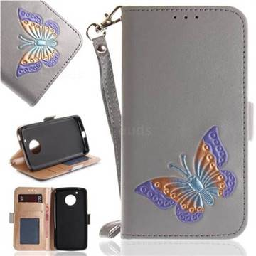 Imprint Embossing Butterfly Leather Wallet Case for Motorola Moto G5 - Grey