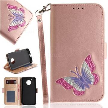 Imprint Embossing Butterfly Leather Wallet Case for Motorola Moto G5 - Rose Gold