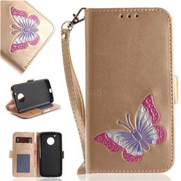 Imprint Embossing Butterfly Leather Wallet Case for Motorola Moto G5 - Golden