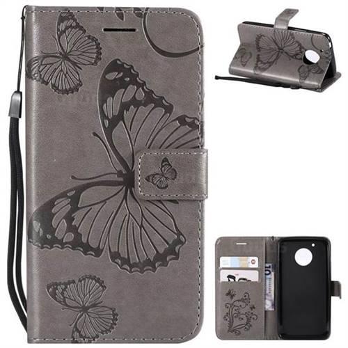 Embossing 3D Butterfly Leather Wallet Case for Motorola Moto G5 - Gray