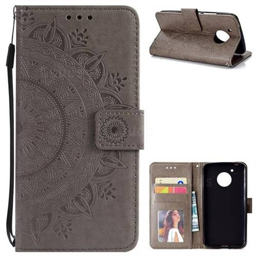 Intricate Embossing Datura Leather Wallet Case for Motorola Moto G5 - Gray