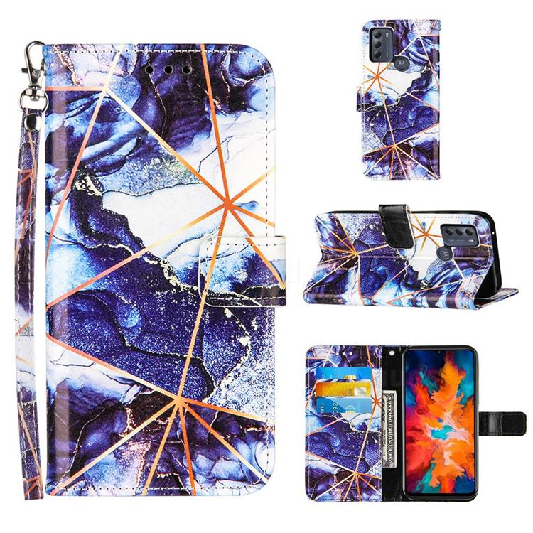 Starry Blue Stitching Color Marble Leather Wallet Case for Motorola Moto G50