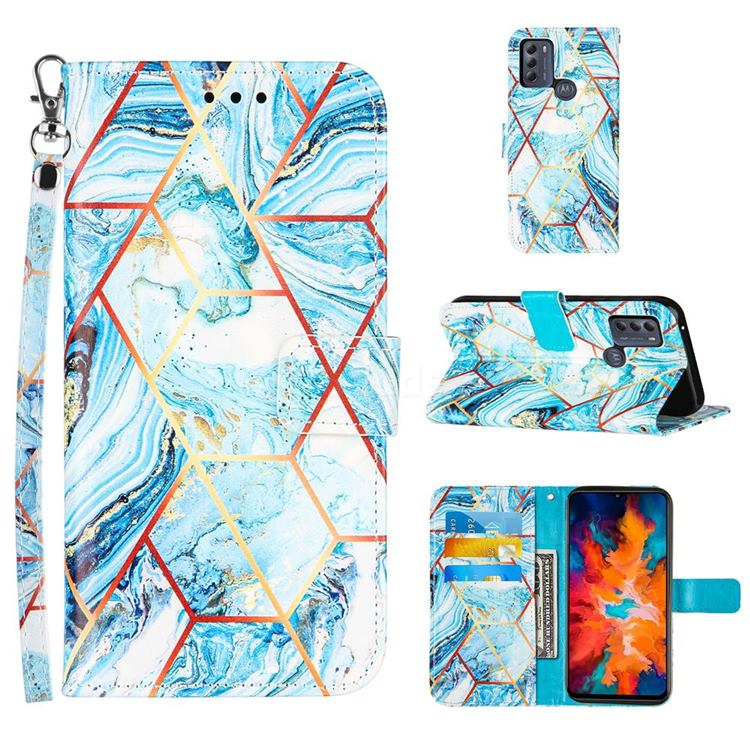 Lake Blue Stitching Color Marble Leather Wallet Case for Motorola Moto G50