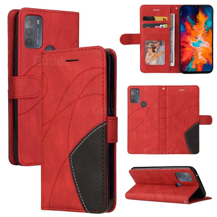 Luxury Two-color Stitching Leather Wallet Case Cover for Motorola Moto G50 - Red