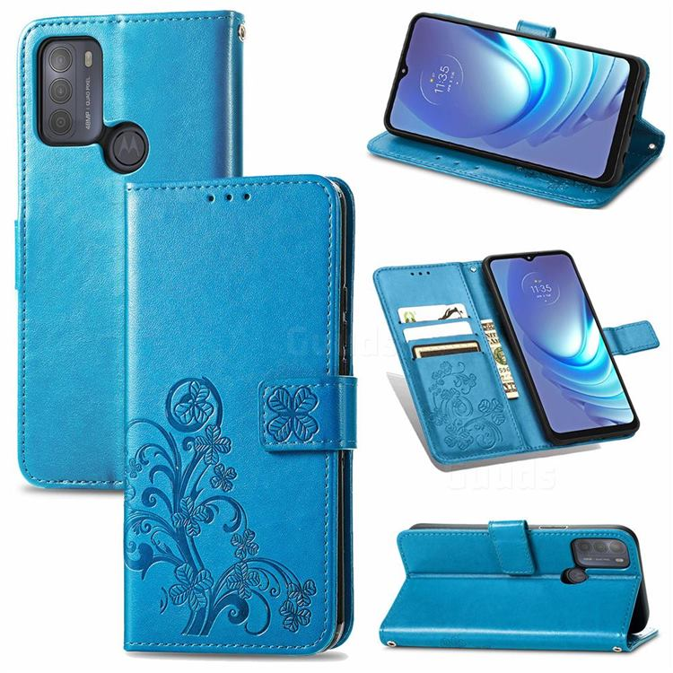 Embossing Imprint Four-Leaf Clover Leather Wallet Case for Motorola Moto G50 - Blue
