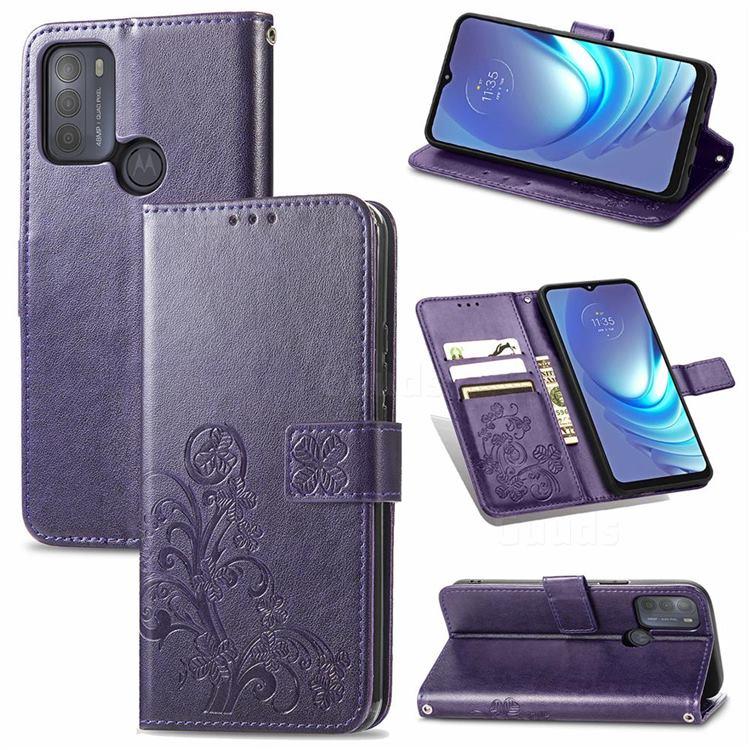 Embossing Imprint Four-Leaf Clover Leather Wallet Case for Motorola Moto G50 - Purple