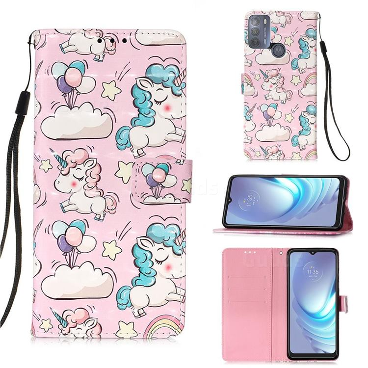 Angel Pony 3D Painted Leather Wallet Case for Motorola Moto G50