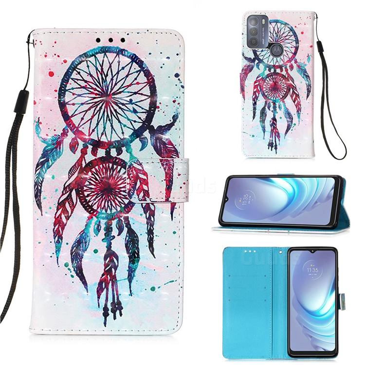 ColorDrops Wind Chimes 3D Painted Leather Wallet Case for Motorola Moto G50