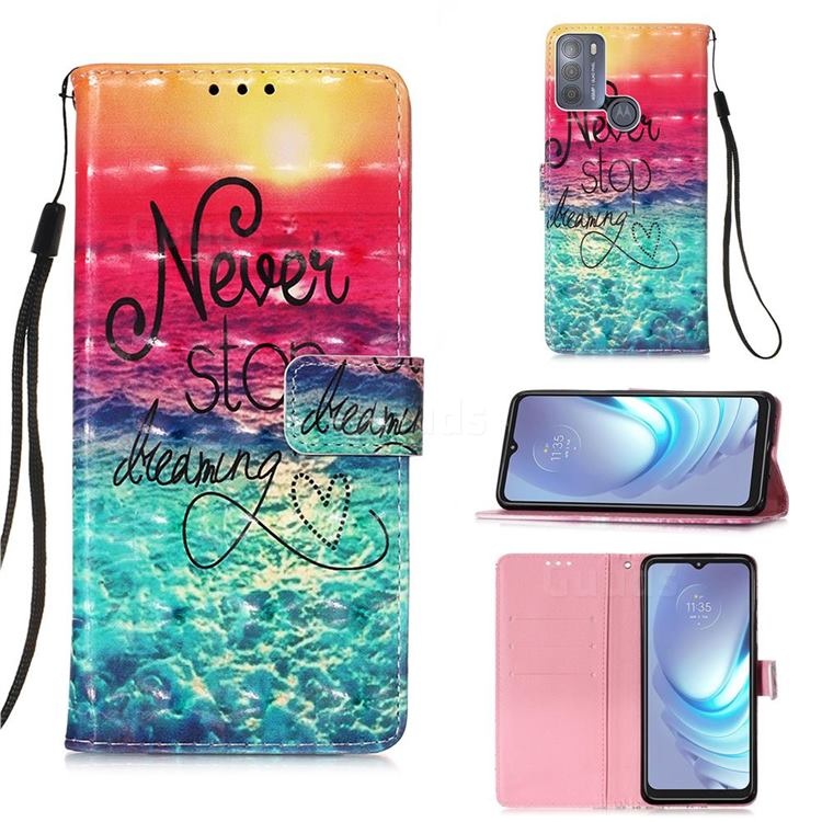 Colorful Dream Catcher 3D Painted Leather Wallet Case for Motorola Moto G50