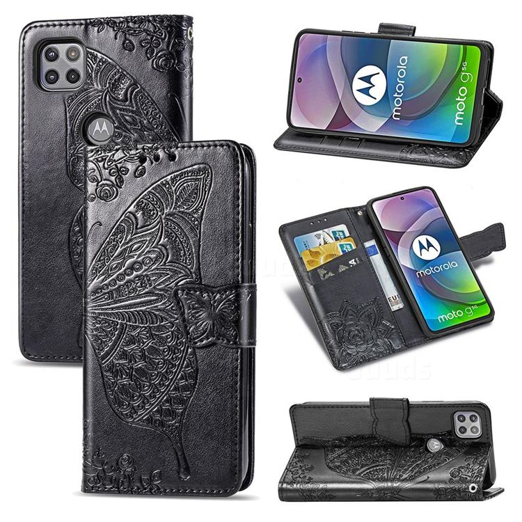 Embossing Mandala Flower Butterfly Leather Wallet Case for Motorola Moto G 5G - Black