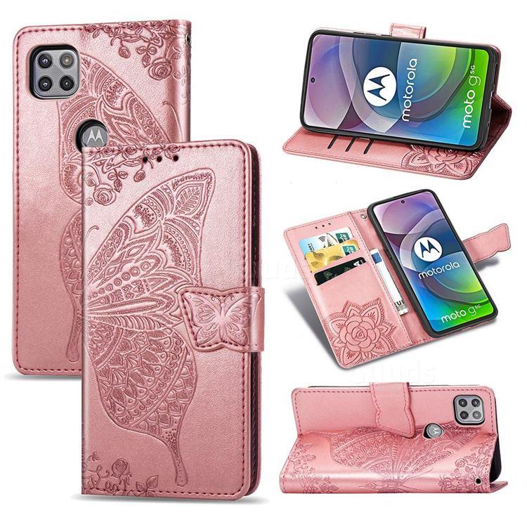 Embossing Mandala Flower Butterfly Leather Wallet Case for Motorola Moto G 5G - Rose Gold