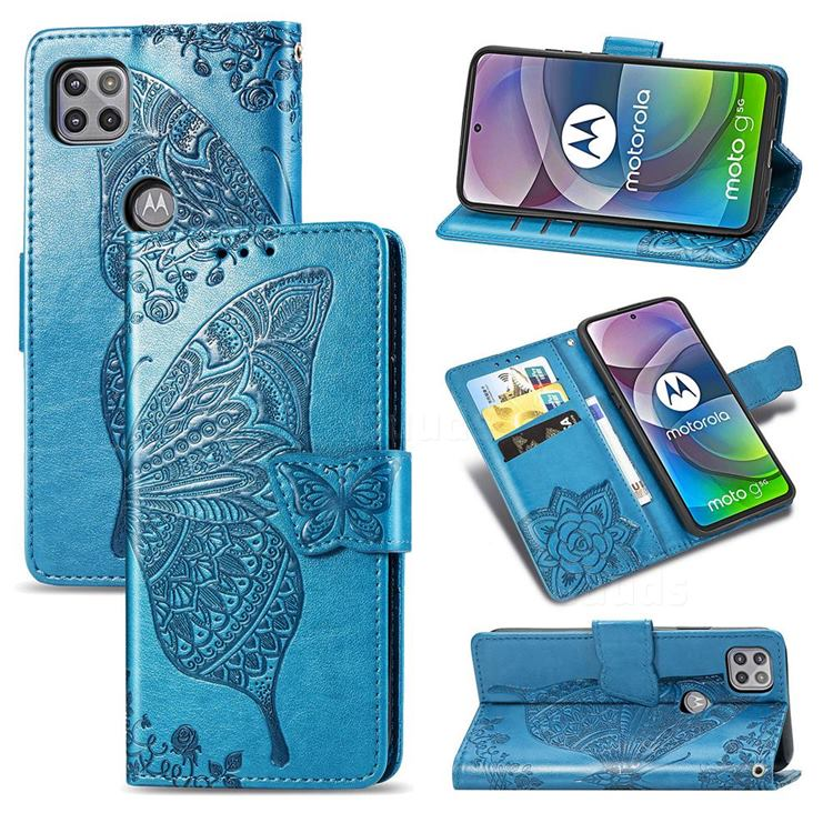 Embossing Mandala Flower Butterfly Leather Wallet Case for Motorola Moto G 5G - Blue