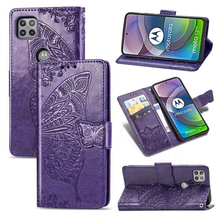 Embossing Mandala Flower Butterfly Leather Wallet Case for Motorola Moto G 5G - Dark Purple