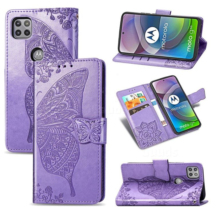 Embossing Mandala Flower Butterfly Leather Wallet Case for Motorola Moto G 5G - Light Purple