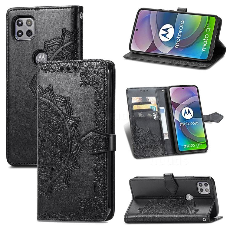 Embossing Imprint Mandala Flower Leather Wallet Case for Motorola Moto G 5G - Black