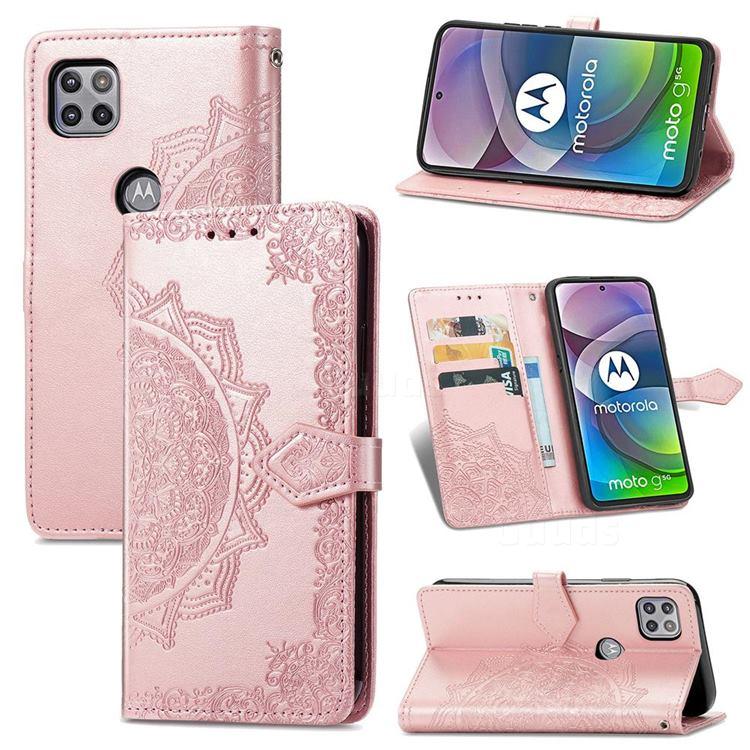 Embossing Imprint Mandala Flower Leather Wallet Case for Motorola Moto G 5G - Rose Gold