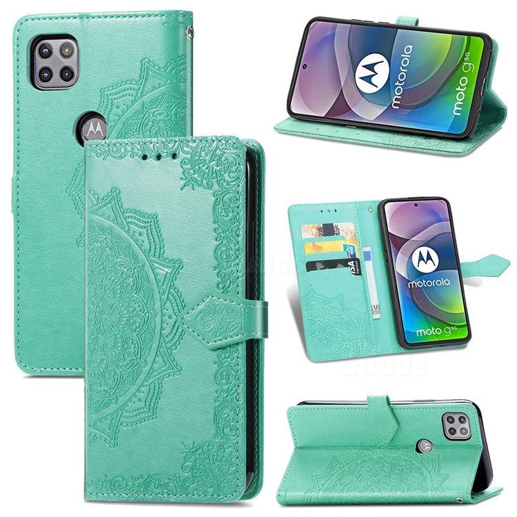 Embossing Imprint Mandala Flower Leather Wallet Case for Motorola Moto G 5G - Green