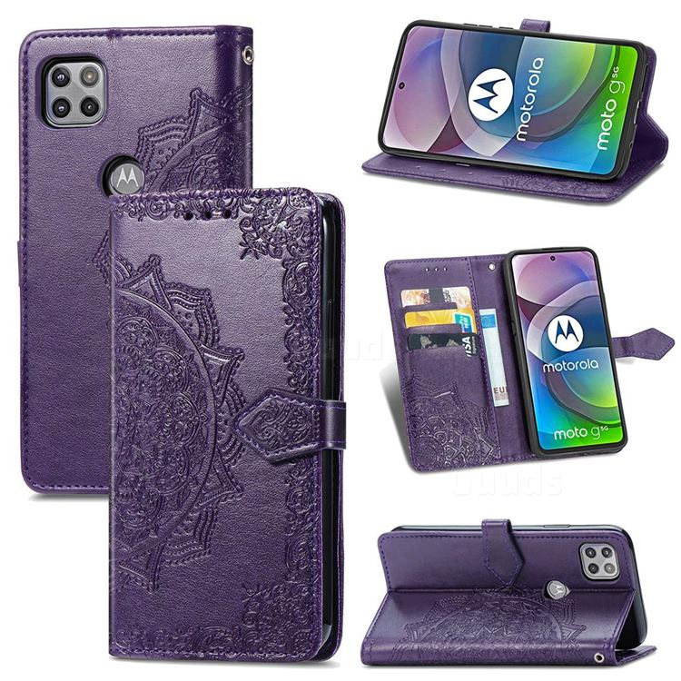 Embossing Imprint Mandala Flower Leather Wallet Case for Motorola Moto G 5G - Purple