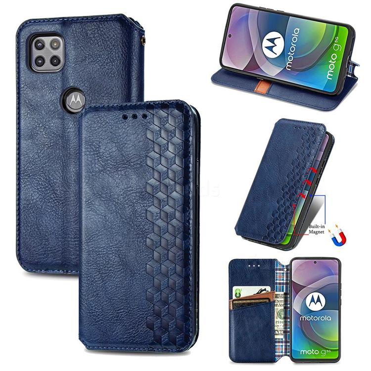 Ultra Slim Fashion Business Card Magnetic Automatic Suction Leather Flip Cover for Motorola Moto G 5G - Dark Blue