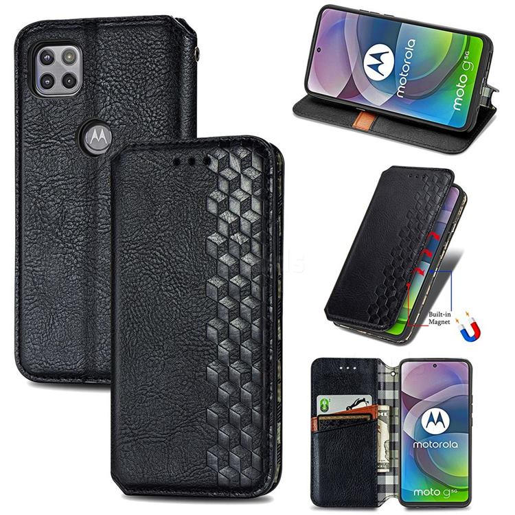 Ultra Slim Fashion Business Card Magnetic Automatic Suction Leather Flip Cover for Motorola Moto G 5G - Black