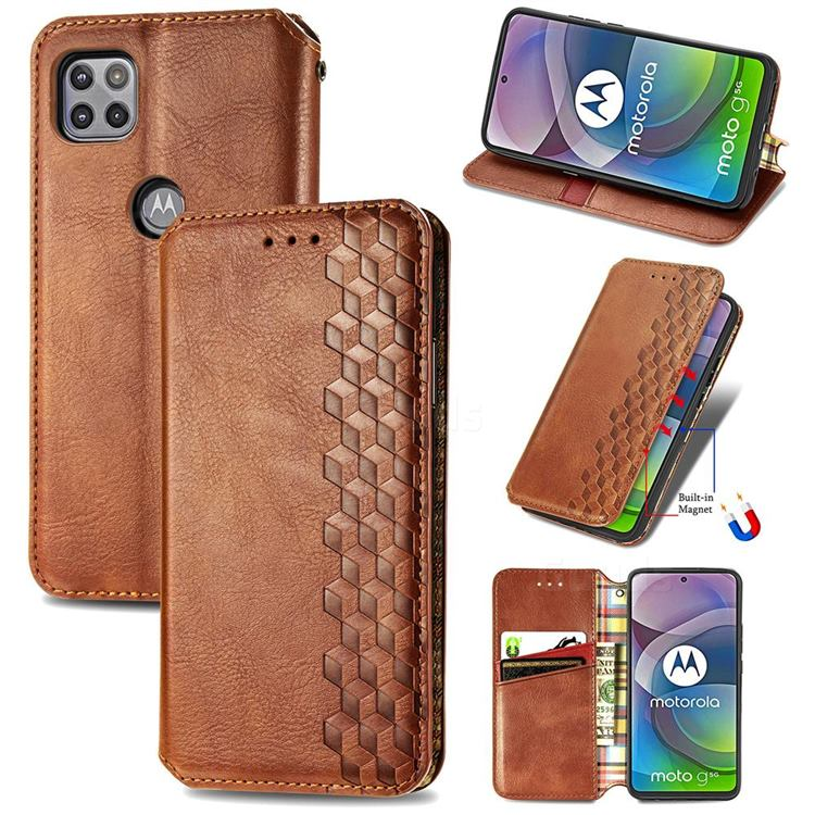 Ultra Slim Fashion Business Card Magnetic Automatic Suction Leather Flip Cover for Motorola Moto G 5G - Brown