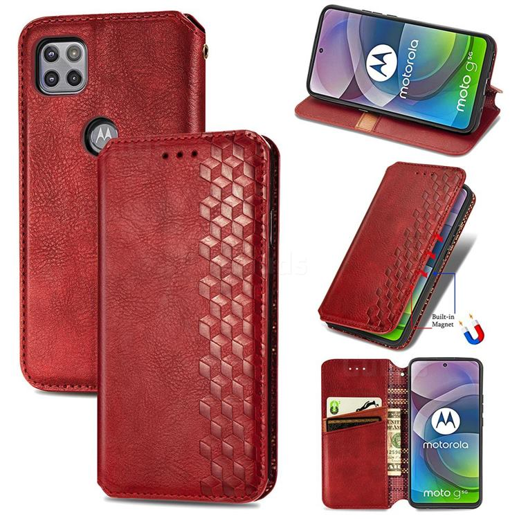 Ultra Slim Fashion Business Card Magnetic Automatic Suction Leather Flip Cover for Motorola Moto G 5G - Red