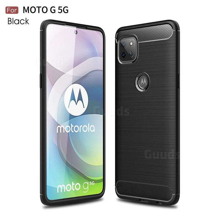 Luxury Carbon Fiber Brushed Wire Drawing Silicone TPU Back Cover for Motorola Moto G 5G - Black